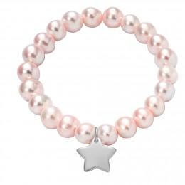 Náramek se stříbrnou hvězdičkou na velkých růžových perlách