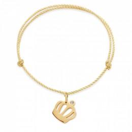 Náramek s pozlacenou korunou Queen na silném zlatém provázku premium