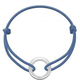 Náramek se stříbrným kroužkem La Roue na silném provázku v barvě džinů