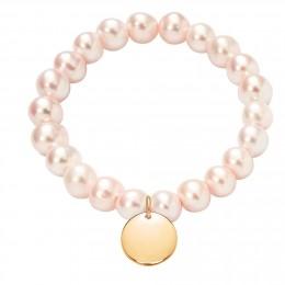 Náramek s pozlaceným medailonem na velkých lososových perlách