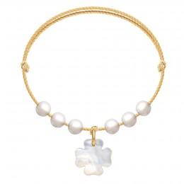 Náramek Pearl Felicity na zlatém provázku premium