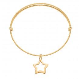 Náramek s ažurovou hvězdou ze zlata ryzosti 585 na silném zlatém provázku premium
