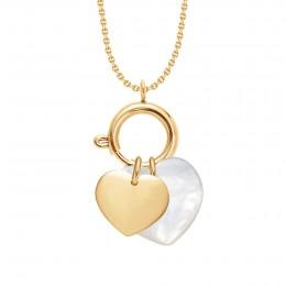 Náhrdelník s Lapačem emocí, pozlaceným srdcem a perleťovým srdcem