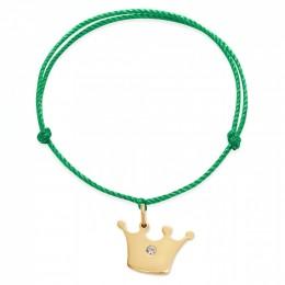 Náramek s pozlacenou korunou Princess na silném zelené provázku premium