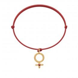 Náramek spřívěskem Venuše srubínem na tenké červené šňůrce