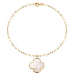 Náramek s perleťovým čtyřlístkem v rámečku ze 14ti karátového zlata na řetízku