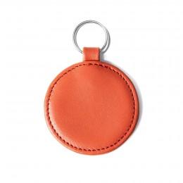 Přívěsek ve tvaru medailonku, oranžový, kování ve stříbrné barvě