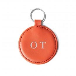 Personalizovaný přívěsek ve tvaru medailonku, oranžový, kování ve stříbrné barvě
