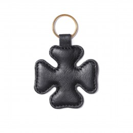 Klíčenka ve tvaru čtyřlístku, černá, zlaté kování