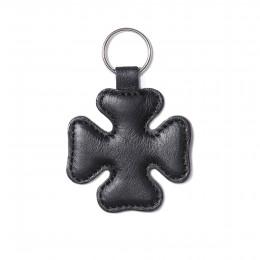 Klíčenka ve tvaru čtyřlístku, černá, stříbrné kování