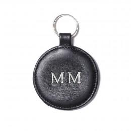 Personalizovaná klíčenka ve tvaru medailonku, černá, stříbrné kování