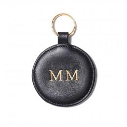 Personalizovaná klíčenka ve tvaru medailonku, černá, zlaté kování