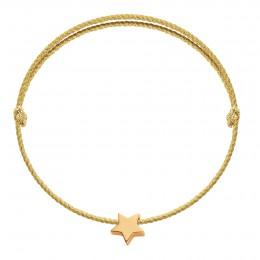 Náramek s pozlacenou hvězdičkou Etincelle na široké stříbrné šňůrce premium