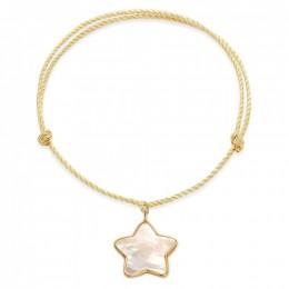 Náramek s hvězdičkou z perleti v rámečku ze zlata 585 na silném zlatém provázku premium