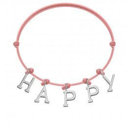 Náramek HAPPY s postříbřenými písmeny na tenkém, červeném provázku