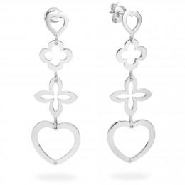 Stříbrné náušnice ažurové 4 prvky srdce