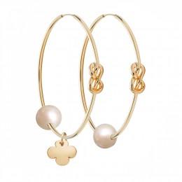 Pozlacené stříbrné náušnice Eternity o rozměru 4 cm s bílou velkou perlou a zaobleným pozlaceným čtyřlístkem