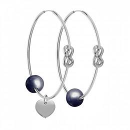 Stříbrné náušnice Eternity o rozměru 4 cm s tmavou velkou perlou a stříbrným srdcem