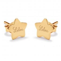 Pozlacené náušnice hvězdy s logem Lilou