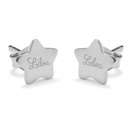 Stříbrné náušnice hvězdy s logem Lilou