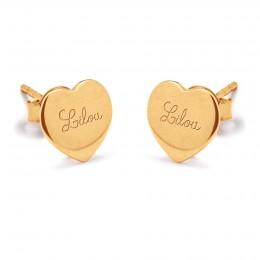 Pozlacené náušnice srdce s logem Lilou