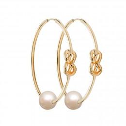 Pozlacené stříbrné náušnice Eternity o rozměru 4 cm s bílou velkou perlou