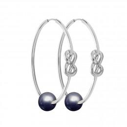 Stříbrné náušnice Eternity o rozměru 4 cm s tmavou velkou perlou