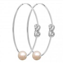 Stříbrné náušnice Eternity o rozměru 5 cm s bílou velkou perlou