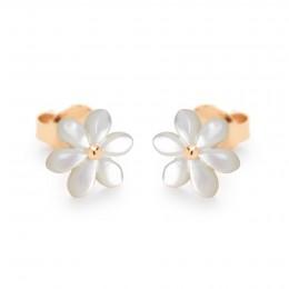 Pozlacené náušnice Flowers s pomněnkami z perleti