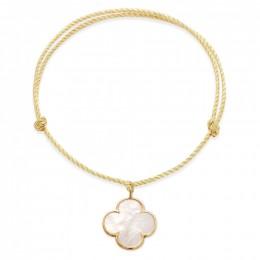 Náramek se zaobleným čtyřlístkem z perleti v rámečku ze zlata 585 na silném zlatém provázku premium