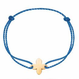 Náramek s pozlacenou lilií na silném modrém provázku premium