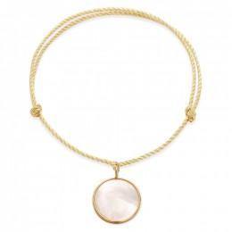 Náramek s medailonem z perleti v rámečku ze zlata 585 na silném zlatém provázku premium