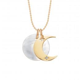 Náhrdelník Lune pozlacený smedailonkem zperleti na tenkém klasickém řetízku