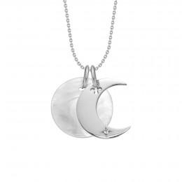 Náhrdelník Lune stříbrný smedailonkem zperleti na tenkém klasickém řetízku