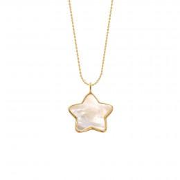 Náhrdelník s hvězdičkou z perleti v rámečku ze zlata 585