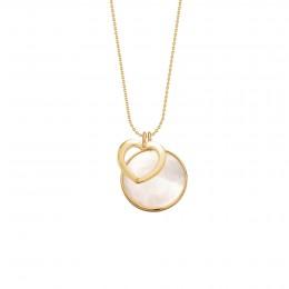 Náhrdelník se zlatým ažurovým srdcem a medailonem z perleti v zlatém rámečku ze zlata ryzosti 585
