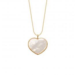 Náhrdelník se srdcem z perleti v rámečku ze zlata 585