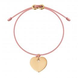 Náramek s pozlaceným srdcem a zapínáním  Infinity na tenkém  růžovém provázku