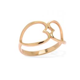 Pozlacený prsten propojené srdce