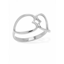 Stříbrný prsten propojené srdce