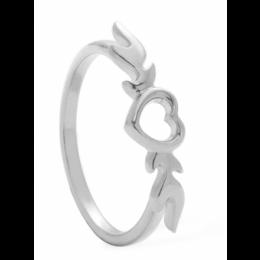 Stříbrný prsten srdce s plameny
