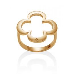 Pozlacený ažurovaný prsten s čtyřlístkem