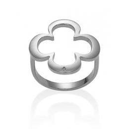Stříbrný ažurovaný prsten s čtyřlístkem