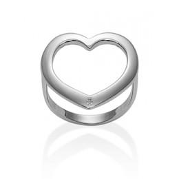 Stříbrný ažurovaný prsten se srdcem
