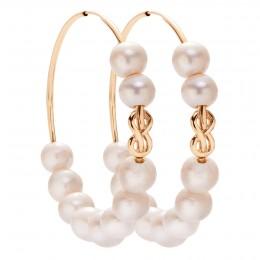 Náušnice Eternity 5 cm stříbrné pozlacené s velkými bílými perlami