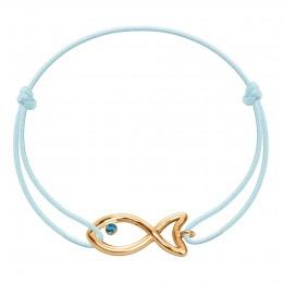 Náramek s pozlacenou prolamovanou rybkou s modrým topazem na tenké modré šňůrce