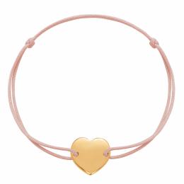 Náramek s pozlaceným srdcem na tenkém provázku v pudrově růžové barvě
