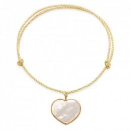 Náramek se srdcem z perleti ve zlatém rámečku 585 na silném zlatém provázku premium