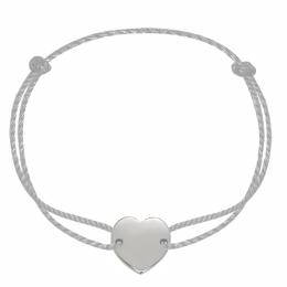 Náramek se stříbrným srdcem na silném stříbrném provázku premium