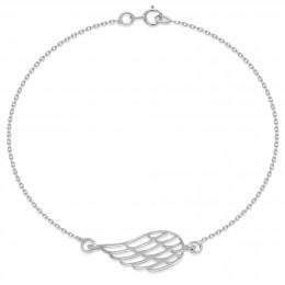 Náramek se stříbrným ažurovým křídlem na řetízku